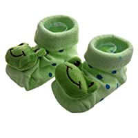 SODIAL(R) Green Frog - Irresistibly Cute Baby Boy Girl 3D Bootie Socks Anti/Non Slip 0-12 Months