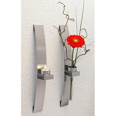 CHG 3342-00 - Candelabro/florero de pared (2 unidades, 39,5 x 5 x 8 cm)