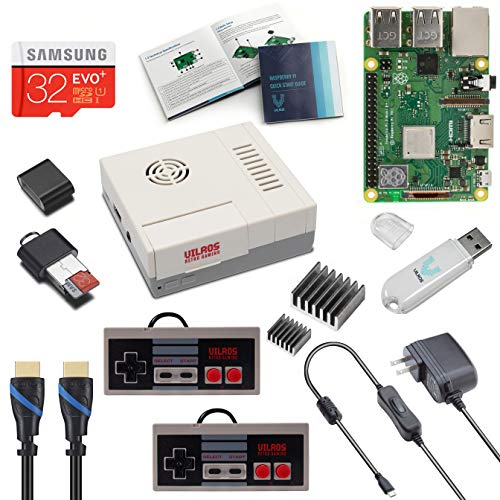 Vilros Raspberry Pi 3 Modell B+ (B Plus) NES Style Retro Arcade Gaming Kit mit 2 NES Style Gamepads & NES Style Lüftergekühltes Gehäuse -