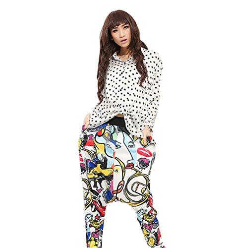 Baymate Femme Casual Baggy Sarouel Pantalon Hip Hop Danse Sportive Imprimé Pantalons Comme Image