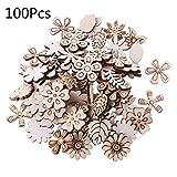 WuLi77 - Fiori e foglie in legno tagliati al laser, decorazioni per matrimoni, 100 pezzi