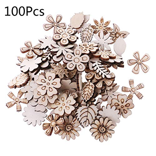 YiFeiCT 100pcs Laser Cut Wood Fl...