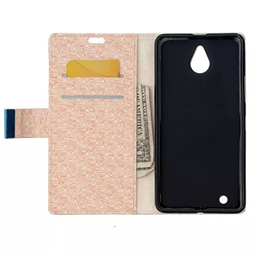 Nokia Lumia 650 Case, Labyrinth Pattern Beschaffenheit PU-lederner Fall Normallack-Kasten Magnetischer Closer mit Halter Karten-Schlitze + weiches Silikon-rückseitige Abdeckung für Microsoft Nokia Lum Gold