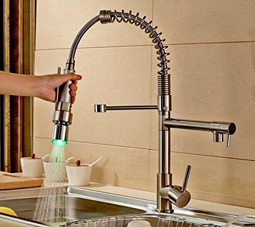 tougmoo nichel spazzolato LED colori cucina lavello rubinetto estraibile Spray rubinetto miscelatore Yellow