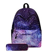 2PC Fashion Soft Galaxy Panelled School Backpack Multifunctional Galaxy Bag Unisex School Bag Collection Canvas Backpack And A Pecil Box