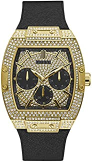 GUESS Mens Quartz Watch, Analog Display And Leather Strap - GW0048G2
