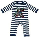 HARIZ Baby Strampler Streifen Stunt Motorrad Bagger Eisenbahn Plus Geschenkkarten Navy Blau/Washed Weiß 12-18 Monate