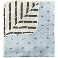 LuvLap 100% Muslin Cotton 6 Layered Reversible Baby Quilt Cum Wrapper Blanket - Blue Anchor