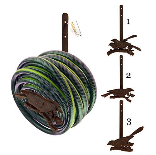 matrasa Gartenschlauch-Halter Rusty Birdy - Halterung für Gartenschlauch aus Gusseisen (Variante 2)