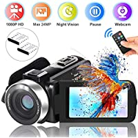 "Video Camera Camcorder DIWUER Full HD 1080P Digital Vlogging Camera For YouTube 16X Digital Zoom 3.0"" LCD 270 Degree Flip Screen With 2 Batteries"