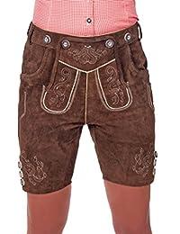 Kurze Damen Trachten Lederhose braun aus feinstem Rindsveloursleder Gr. 32-50