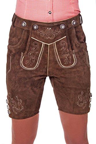 Kurze Damen Trachten Lederhose braun aus feinstem Rindsveloursleder