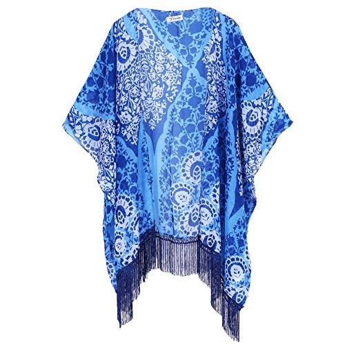 Acetat Bluse (Soul Young Damen Sommer floral bedruckte Chiffon Kimono Cardigan Schal Tops)