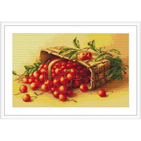 Luca-S - Juego de punto de cruz, diseño de cesta con cerezas