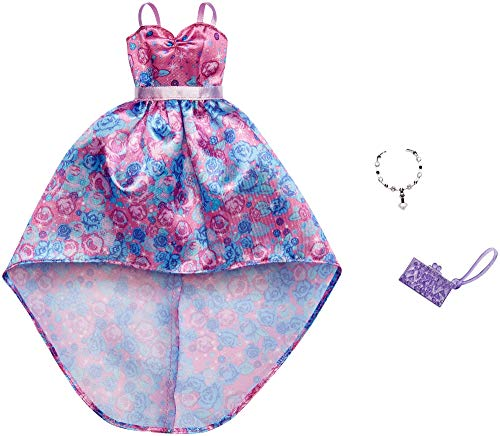 Mattel-Barbie - FXJ17 Fashion - Abendkleid mit rosa-blauen Blumenmuster, Tasche und Halskette, Kleid, Mode, Fashion, Kleidung passend für Barbie