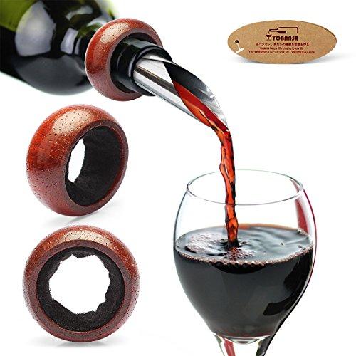 Yobansa Tropfenfänger für Weinflaschen, Weintropfring, Weinmanschette, für Alkoholflaschen, Tropfenstopper, das perfekte Geschenk für Weinliebhaber, 2Stück rosewood