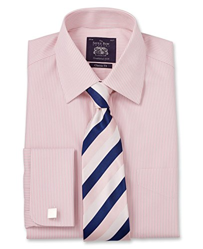 Savile Row Men's Non Iron Pink Bengal Stripe Classic Fit Shirt 15 1/2