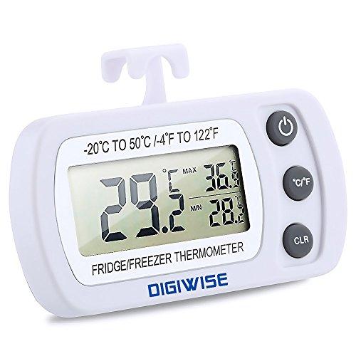 Thermomètre de Réfrigérateur frigo, Digiwise Thermomètre Congélateur Numérique, Mesure Etendue allant de -20°C à +50°C (-4°F à +122°F) avec une Précis...