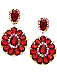 Schmuckanthony Luxus Silber Lange Ohrclips Clip Klips Clips Ohrringe Acryl Rot und Kristall Aurora Borealis Pink 8,3cm lang