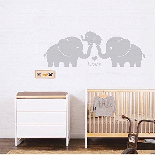Drei Süßen Elefanten Eltern und Kind Familie Wand Aufkleber liebe herz familie worte Wlefanten Baby Vinyl Wand Aufkleber für Baby - Kinderzimmer Dekoration (grau) (Vinyl-wand-aufkleber-elefant)