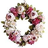 Calcifer 1Pcs artificielles Pivoine Guirlande couronnes à Suspendre Fleurs Décor Porte Avant pour Home Garden Décoration de Fête de Mariage