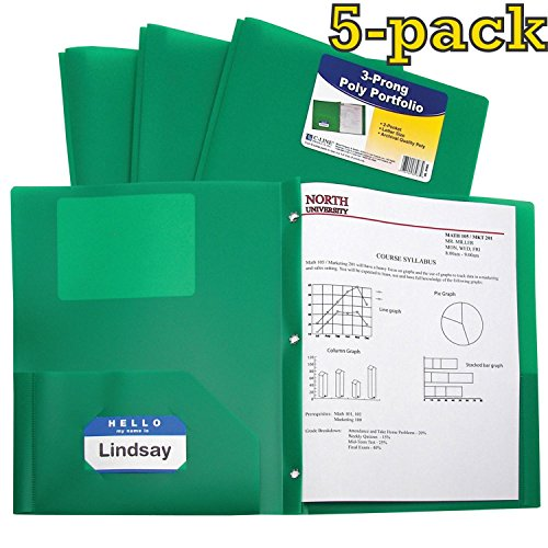 Line two-pocket schwere Poly Portfolio mit Zinken, Mappe für letter-Format Papiere, inkl. Business Card Slot, 5Stück, verschiedene Farben 8.5x11 grün -