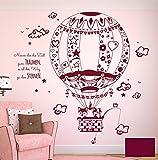 Wandtattoo Wandaufkleber Fuchs Waschbär Eule auf Weltreise Heißluftballon Ballonfahrt mit Spruch M1712 - ausgewählte Farbe: *Beere* - ausgewählte Größe: *M - 80cm breit x 80cm hoch*