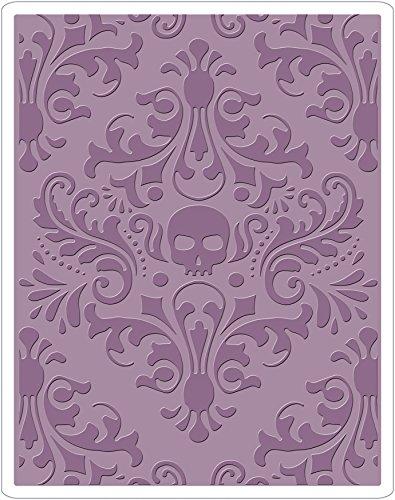 Sizzix Texture Fades Prägeschablone-Totenkopf Damast von Tim Holtz, Plastik, Mehrfarbig, 17.5 x 12.4 x 0.5 cm -
