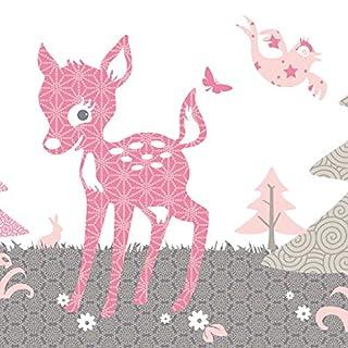 Anna Wand Bordüre Selbstklebend REHLEIN Rosa/Taupe - Wandbordüre Kinderzimmer/Babyzimmer mit REH & Waldtieren in Versch. Farben - Wandtattoo Schlafzimmer Mädchen & Junge, Wanddeko Baby/Kinder