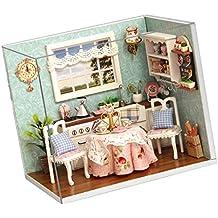 MagiDeal DIY Dollhouse Juguetes de Casa de Muñeca en Miniatura Conjunto con Cbierta de Polvo Multi