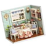 MagiDeal Miniatur Puppenhaus DIY Handwerk Mini Haus Kit mit Abdeckung und Beleuchtung Geschenk Dekoration für Kinder und Freunde - # B