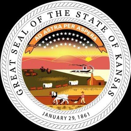 INDIGOS UG Aufkleber Autoaufkleber JDM Die Hart - Kansas KS State Seal Bumper Sticker 101mmx101mm