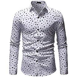 IYFBXl Camisa Delgada para Hombre de EU/us - Cuello de Camisa geométrico/Lunares, Blanco, XXL