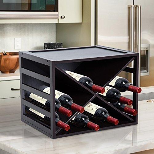 HomCom Botellero Madera Estante de Vino Forma X Creativo y Decorativo Apilable para 16 Botellas Marrón - 45x35x34.5cm