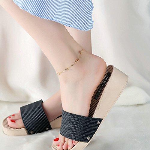 Onefeart Vergoldet Fußkette für Frauen Mädchen Oval Zircon Damen Stil Vertraute Armband 25CM Gold