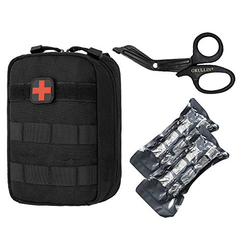 GRULLIN Tactical MOLLE IFAK Pouch + 2Medical-Bandage + Edelstahl, Outdoor-Erste-Hilfe-Set für Erste Hilfe, Set Emergency Survival Trauma Bag -
