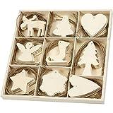 Sperrholz Hängeornamente Sortiment 56742 - 72-teiliges Hängedeko Set als DIY Weihnachtsbaumschmuck und Weihnachtsdekoration. 7-8 cm Größe, 3 mm Dicke.