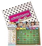 aeioubaby.com BELOHNUNGSTAFEL Magnetisch Groß | Sternchenplan für Wand oder Kühlschrank, 43x32cm. 12 Tätigkeiten, 2 Stifte und 1 Ballon | Geschenkbox Kinder und Geburtstage