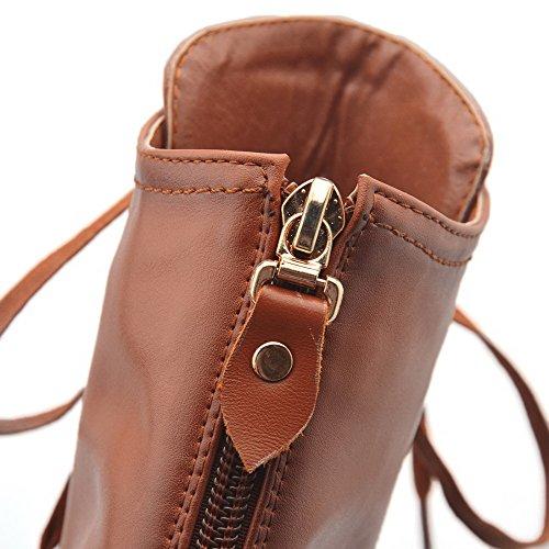 AgooLar Damen Rund Zehe Blend-Materialien Hoher Absatz Stiefel Braun-Rücken Reißverschluss