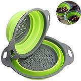 Xuanlan Colador de Silicona Plegable Cesta Plegable de Verduras para Frutas de la cocina, Incluye 2 tamaños de 8 y 9,5 pulgadas (Verde)