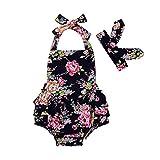 Sommer Badeanzug Stirnband Hirolan Badebekleidung 2 Stück Spielanzug Kleinkind Neugeborenes Baby Mädchen Blumen Drucken Gurt Overall Outfits Bikini Anzug Beachwear (70, Marine)