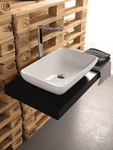 Lavabo Lavabo appui Design moderne modèle Tai 60 x 40 x H14 cm en céramique blanc