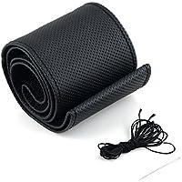 Cdet Fundas para volante diy textura suave auto cubierta de volante de coche con agujas y hilo cuero de artificial cubre traje de cubierta,Negro