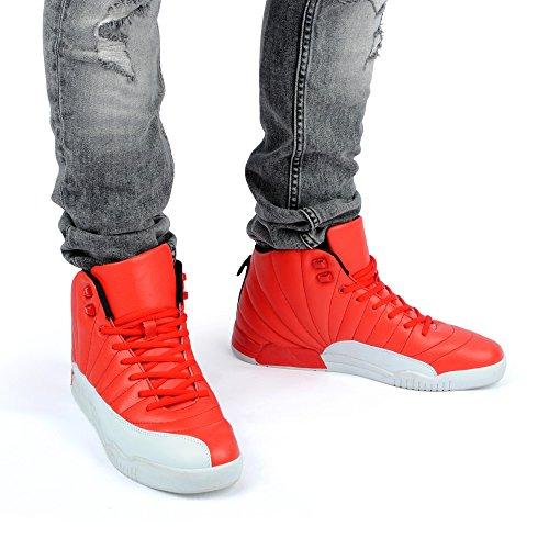 Fusskleidung Herren Sportschuhe High Top Sneaker Mehrfarbig Basketball Nieten Freizeit Schuhe Rot/Weiss
