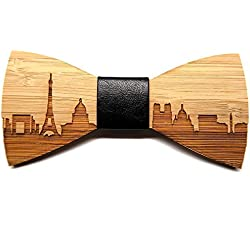 BOBIJOO Jewelry - Pajarita Madera bambú Hombre Chic Paris Francia Cuero Hecho a Mano
