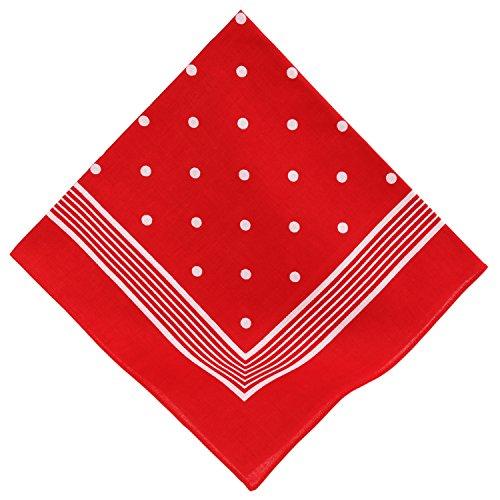 Betz Nickituch Bandana Kopftuch Halstuch klassischem Punktemuster Größe 55 x 55 cm 100% Baumwolle Farbe rot (Klassisches Bandana)