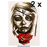 2 x Frau Schädel Totenkopf Rose Tattoo - Fake temporäres einmal Körpertattoo HB107 (2)