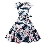 1950S Vestidos para Mujer, 50S Vestido Retro con Estilo del OscilacióN De La Tarde De La Vendimia del Baile De Fin De Curso del Club del Coctel del AlgodóN del Estilo De Hepburn Naturazy