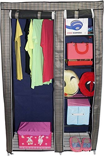 New Latest Designer Fancy and Portable Foldable Closet Wardrobe Cabinet Portable Multipurpose Clothes Closet Portable Wardrobe Storage Organizer with Shelves 6 feet Folding Wardrobe Cupboard Almirah Foldable Storage Rack Collapsible Cabinet (Need to Be Assembled)  available at amazon for Rs.1669