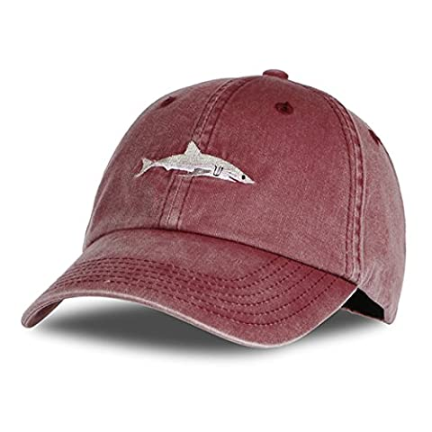 Himozoo Women Men Baseball Cap 100% Cotton Washed Shark Embroidery Dad Hat (Winered)